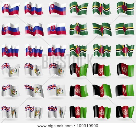 Slovakia, Dominica, British Antarctic Territory, Afghanistan. Set Of 36 Flags Of The Countries Of