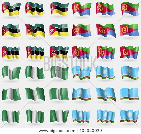 Mozambique, Eritrea, Nigeria, Sakha Republic. Set Of 36 Flags Of The Countries Of The World.