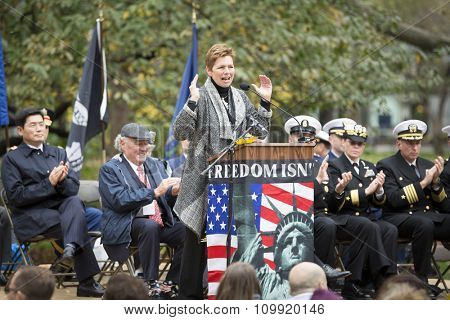 NEW YORK-NOVEMBER 11 2015: Loree Sutton, Commissioner of NYC Mayors Office of Veteran Affairs and Brig. General, US Army, Ret. speaks in Madison Square Park before the Americas Parade on Veterans Day.