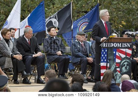 NEW YORK - NOVEMBER 11 2015: Ray Mabus, US Secretary of the Navy (SECNAV) and Honorary Grand Marshal of the 2015 Americas Parade speaks to an audience of veterans, Madison Square Park on Veterans Day.