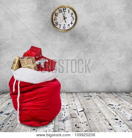 Bag of Santa Claus  on wooden background.