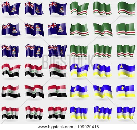 Cayman Islands, Chechen Republic Of Ichkeria, Iraq, Buryatia. Set Of 36 Flags Of The Countries Of
