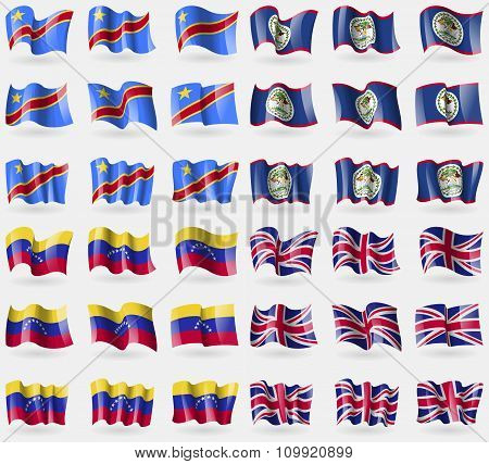 Congo Democratic Republic, Belize, Venezuela, United Kingdom. Set Of 36 Flags Of The Countries Of