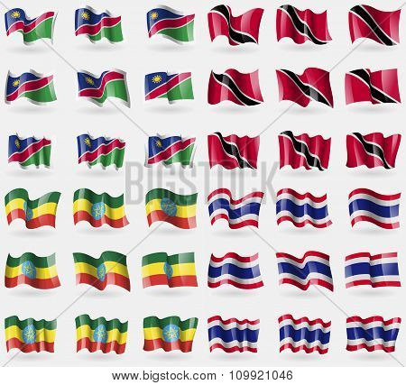 Namibia, Trinidad And Tobago, Ethiopia, Thailand. Set Of 36 Flags Of The Countries Of The World.