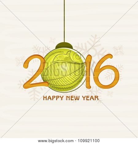 Elegant greeting card design with stylish text 2016 and Xmas Ball on snowflakes decorated background for Happy New Year celebration.