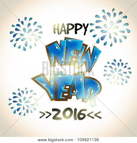Elegant greeting card design with stylish text Happy New Year 2016 on fireworks decorated background.
