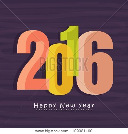 Elegant greeting card design with colorful 3D text 2016 for Happy New Year celebration.