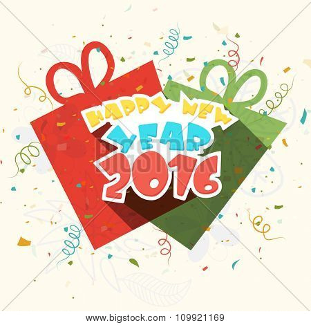 Elegant greeting card design with gift boxes on floral decorated background for Happy New Year 2016 celebration.