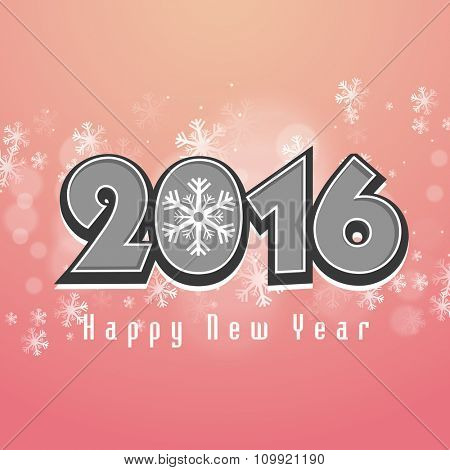 Elegant greeting card design with stylish text 2016 on snowflakes decorated background for Happy New Year celebration.