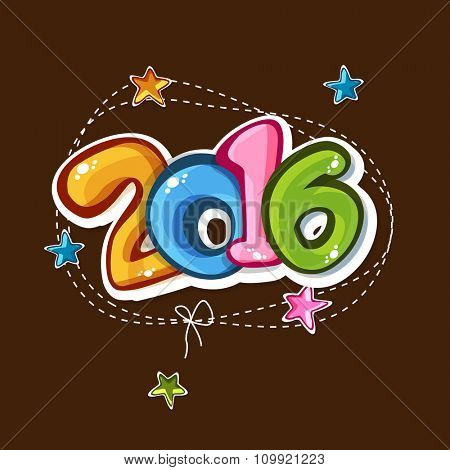 Stylish colorful text 2016 on stars decorated brown background for Happy New Year celebration.