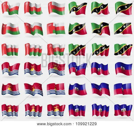 Oman, Saint Kitts And Nevis, Kiribati, Haiti. Set Of 36 Flags Of The Countries Of The World.