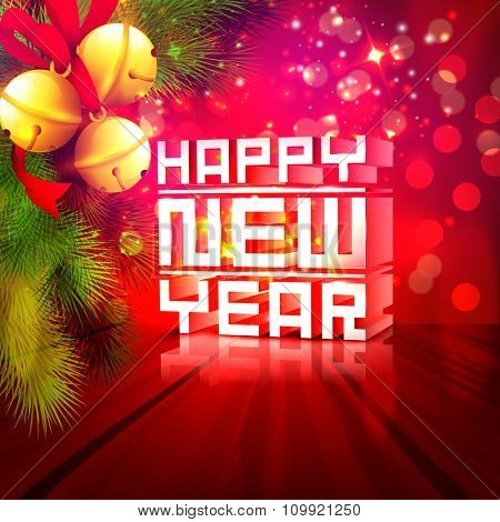 Glossy 3D text Happy New Year with golden Jingle Bells and Fir Tree branches on beautiful shiny red background.