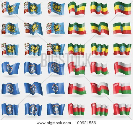 Saint Pierre And Miquelon, Ethiopia, Marianna Islands, Oman. Set Of 36 Flags Of The Countries Of