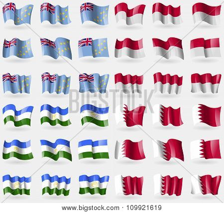 Tuvalu, Indonesia, Bashkortostan, Bahrain. Set Of 36 Flags Of The Countries Of The World.