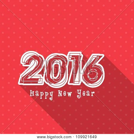 Elegant greeting card design with stylish text 2016 for Happy New Year celebration.