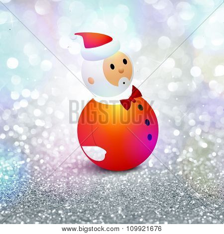 Cute Santa Claus on silver glitter background for Merry Christmas celebration.