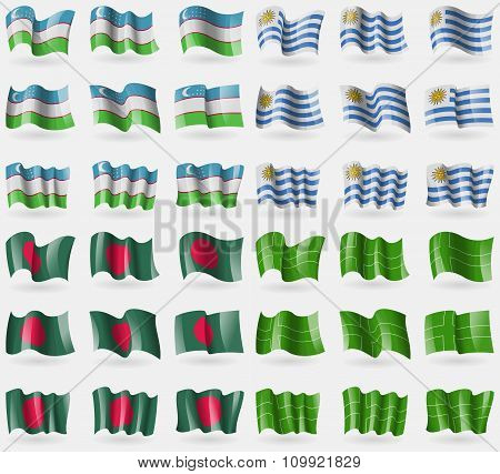 Uzbekistan, Uruguay, Bangladesh, Ladonia. Set Of 36 Flags Of The Countries Of The World.