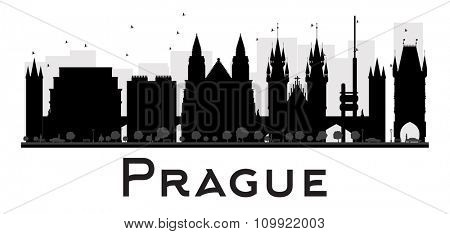Prague City skyline black and white silhouette. Vector illustration. Simple flat concept for tourism presentation, banner, placard or web site. Business travel concept. Cityscape with landmarks