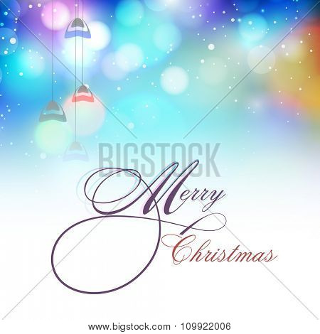 Elegant creative greeting card design with hanging lights on shiny background for Merry Christmas celebration.
