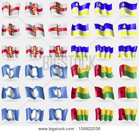Guernsey, Buryatia, Antarctica, Guineabissau. Set Of 36 Flags Of The Countries Of The World.