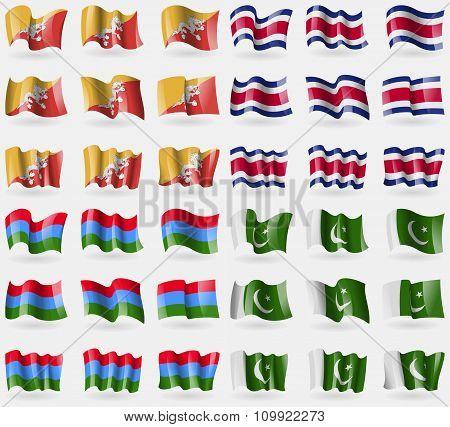 Bhutan, Costa Rica, Karelia, Pakistan. Set Of 36 Flags Of The Countries Of The World.