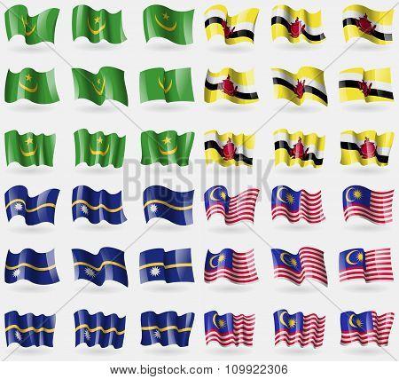 Mauritania, Brunei, Nauru, Malaysia. Set Of 36 Flags Of The Countries Of The World.