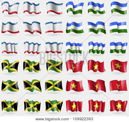 Crimea, Bashkortostan, Jamaica, Vietnam. Set Of 36 Flags Of The Countries Of The World.