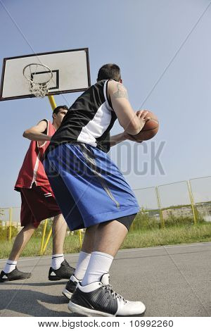 Streetball  Game At Early Morning