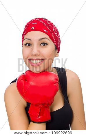 Woman boxer isolated on the white