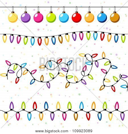 Christmas Light Bulbs Garlands Background Vector