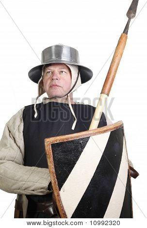 Medieval Soldier With Spear And Shield