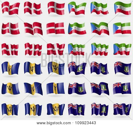 Military Order Malta, Equatorial Guinea, Barbados, Virginislandsuk. Set Of 36 Flags Of The