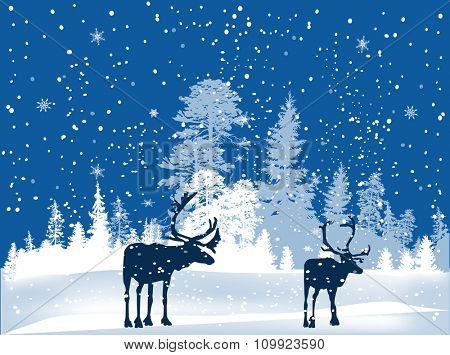 illustration with deers in winter forest