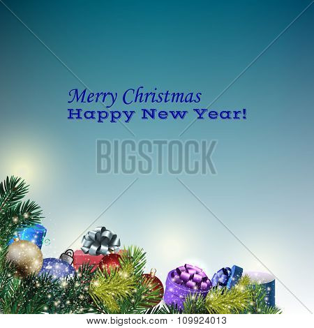 New Year Greeting Card On Blue Background