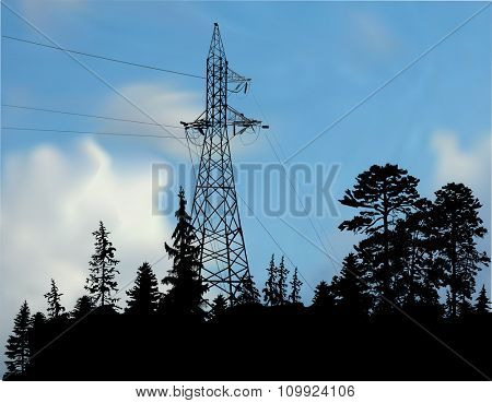 ilustration with electric tower in forest