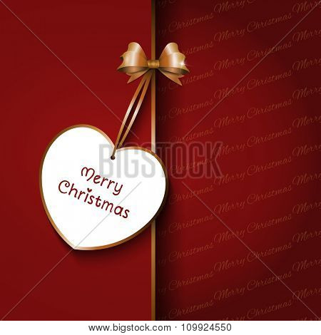 Christmas gift background with red bow and label