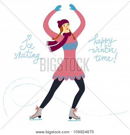 Cartoon Ice Skater Lady  Illustration