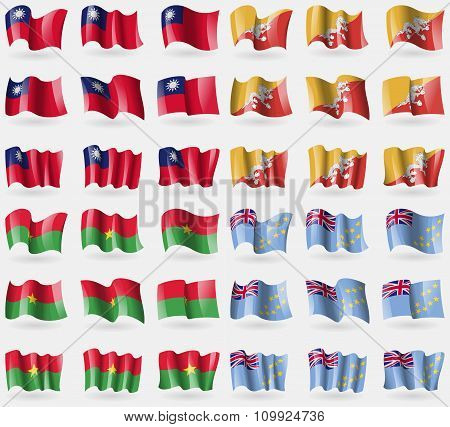 Taiwan, Bhutan, Burkia Faso, Tuvalu. Set Of 36 Flags Of The Countries Of The World.