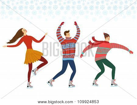 Cartoon Ice Skaters  Illustration