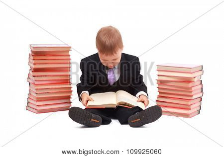 Boy with books for an education portrait - isolated over a white background