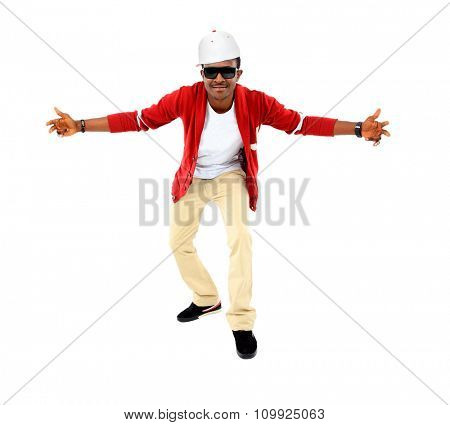 African American hip hop dancer over white background