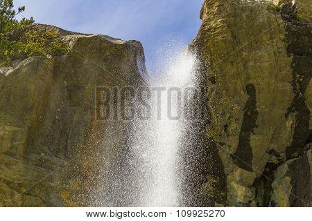 Swiss Alps Waterfall Near Oeschinensee Lake In Bernese Oberland, Switzerland