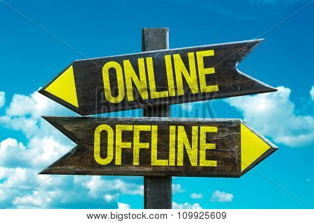 Online - Offline signpost with sky background