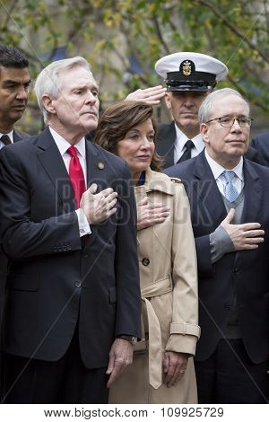 NEW YORK - NOVEMBER 11 2015: Ray Mabus, US Secretary of the Navy (SECNAV) and Honorary Grand Marshal at the Eternal Light Monument in Madison Square Park before the Americas Parade on Veterans Day.