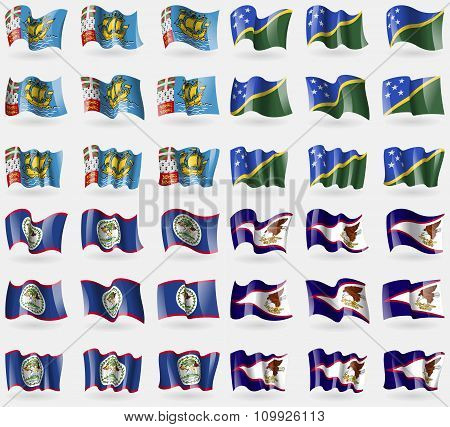 Saint Pierre And Miquelon, Solomon Islands, Belize, American Samoa. Set Of 36 Flags Of The