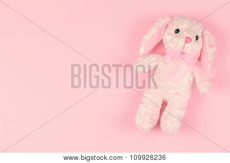 Girlish Soft Toy On A Pink Gentle Background