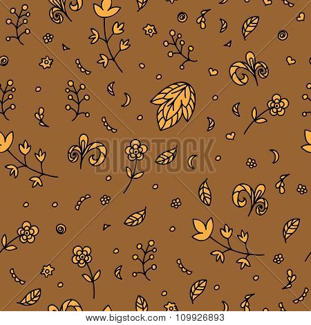 Floral Texture. Doodle Seamless Pattern. Abstract Beige Flowers And Elements On The Brown Background