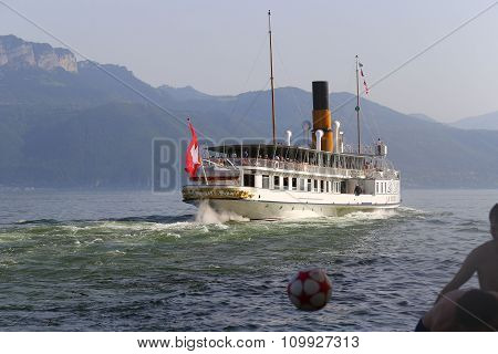 Cully, Switzerland - 8 June 2014: La Suisse Vessel Built In 1910, Belongs To Founded In 1873 Belle E