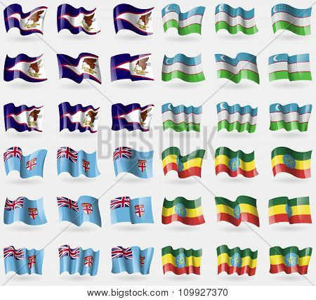 American Samoa, Uzbekistan, Fiji, Ethiopia. Set Of 36 Flags Of The Countries Of The World.