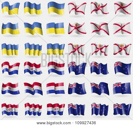 Ukraine, Jersey, Paraguay, New Zeland. Set Of 36 Flags Of The Countries Of The World.
